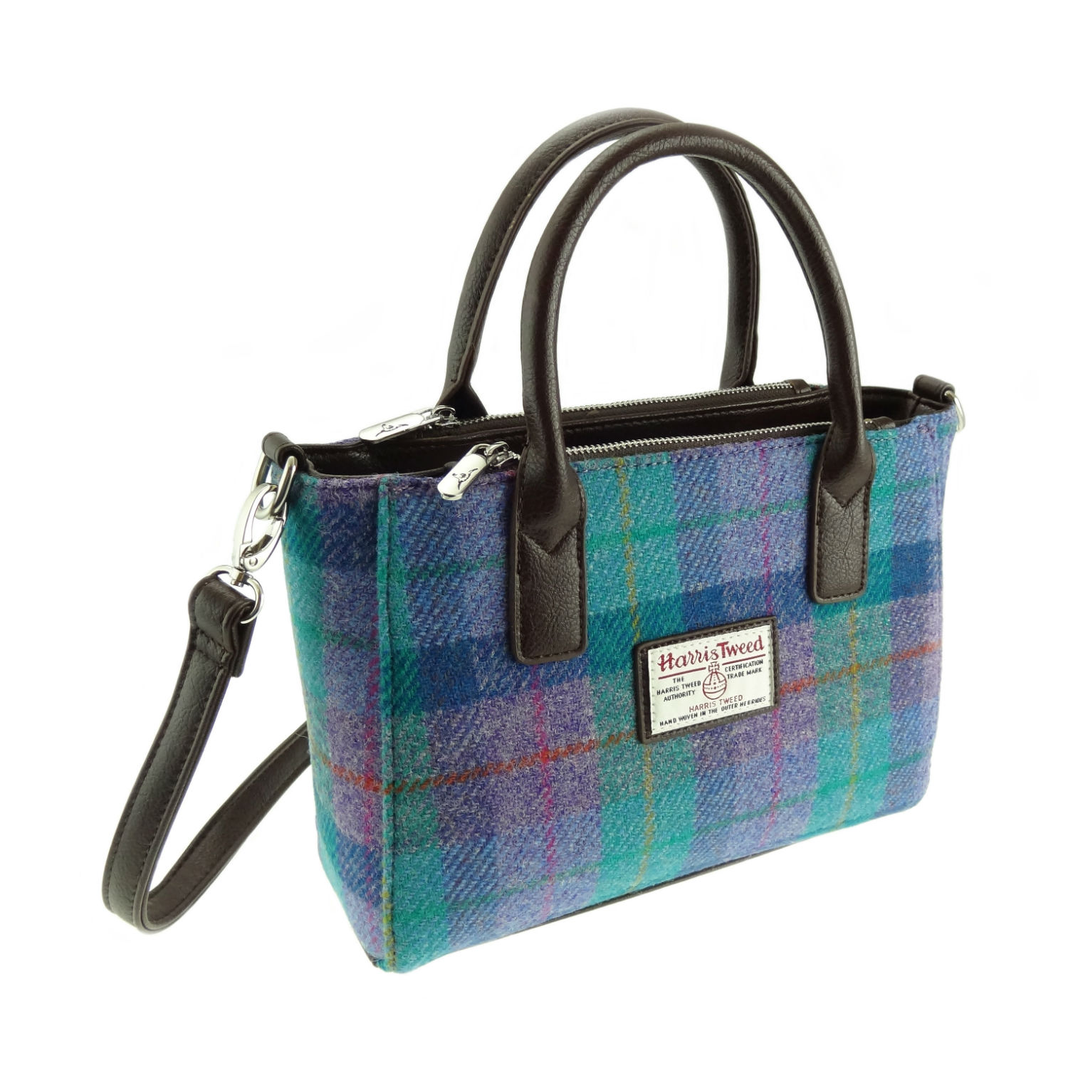 Kabelka Brora Harris Tweed - Green Purple Check