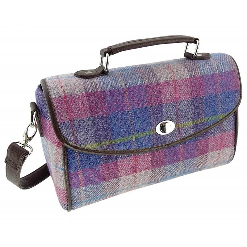 Kabelka Calder Harris Tweed - Purple Pink Tartan