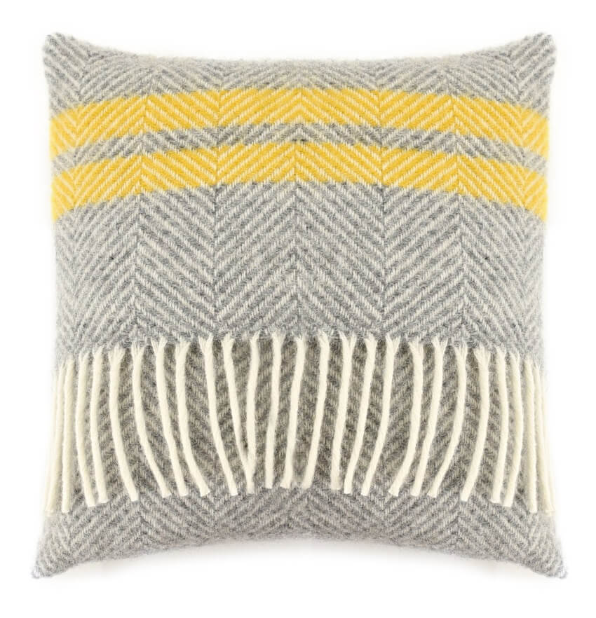 Polštářek Fishbone Stripe Grey Yellow Tweedmill