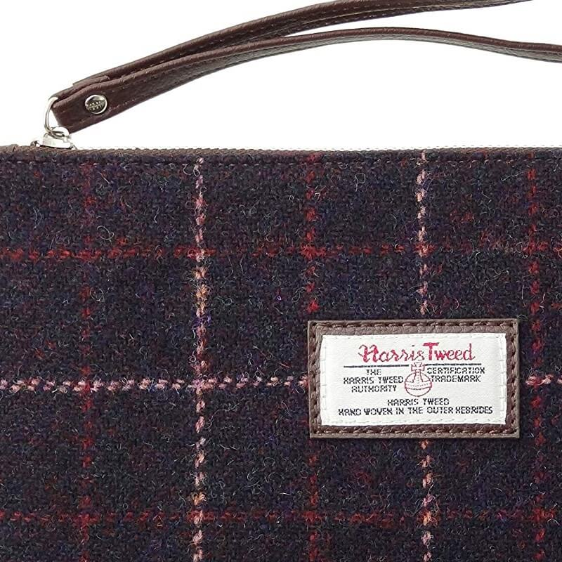 Kabelka Strathy Harris Tweed - Wine Pink Overcheck