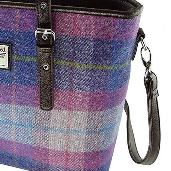 Kabelka Spey Harris Tweed - Purple Pink Tartan