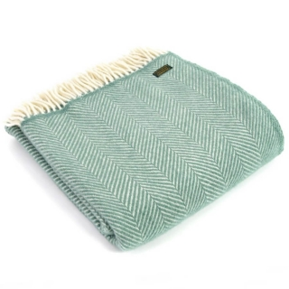 Vlněná deka Fishbone Sea Green 183 x 150 cm Tweedmill