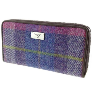 Peněženka Staffa Harris Tweed - Purple Pink Tartan