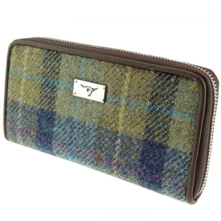 Peněženka Staffa Harris Tweed - Beige Blue Tartan