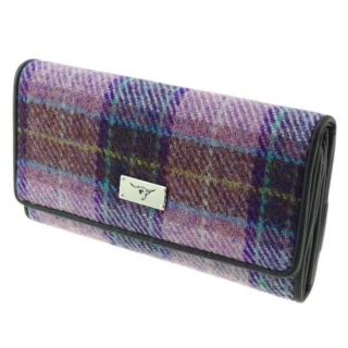 Peněženka Tiree Harris Tweed - Pink Lilac Check