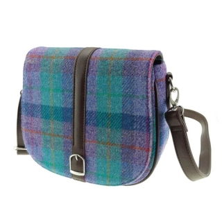Kabelka Beauly Harris Tweed - Green Purple Check