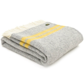 Vlněná deka Fishbone Stripe Grey Yellow 183 x 150 cm Tweedmill