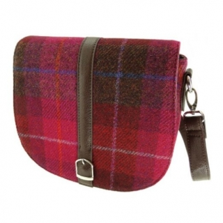 Kabelka Beauly Harris Tweed - Deep Pink Tartan