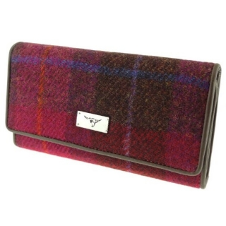 Peněženka Tiree Harris Tweed - Deep Pink Tartan